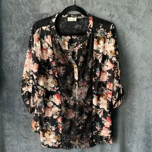 Floral Sheer Blouse with Lace